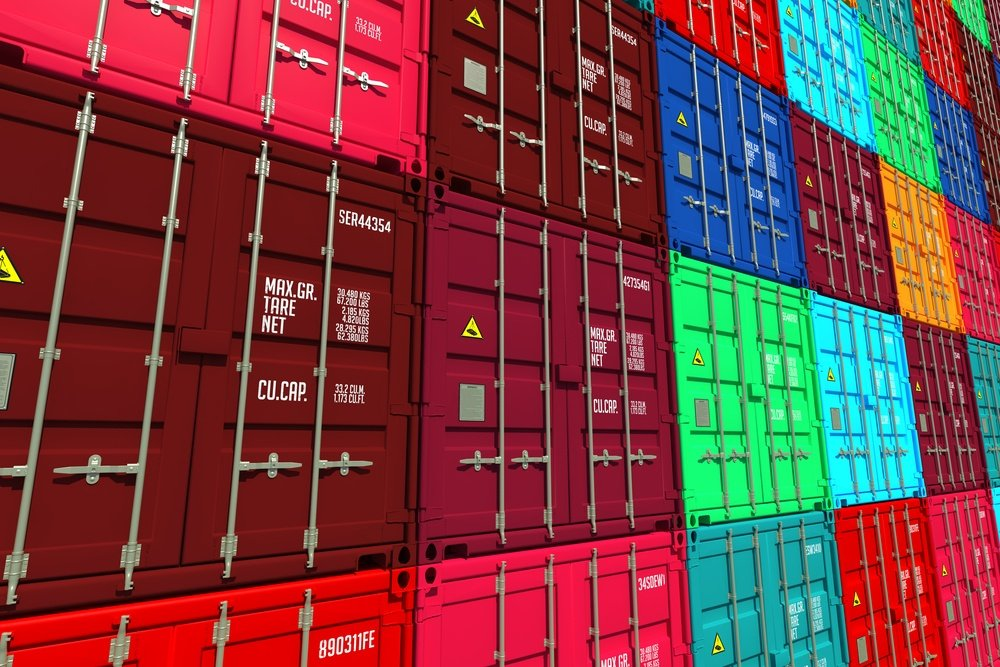 Stacked Colorful Cargo Containers.  Industrial and Transportation Background.